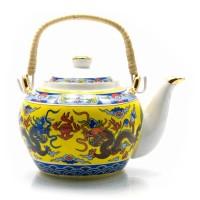 """Чайник фарфор с бамбуковой ручкой (750мл.)(TPR1007-6) """"Драконы"""" 23134"""