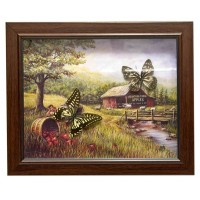 Бабочки в рамке на фоне (28х23х2,5 см) 26044