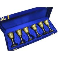 Рюмки бронзовые позолоченные (н-р 6 шт/60мл)h-10 см (39х10х6 см) 28336