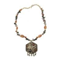 """Ожерелье с каменьями агата и кулоном """"Шестигранник"""" 29279A"""